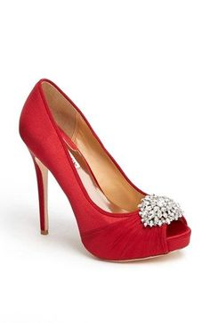 Red satin platform jeweled pump - red wedding shoes - Badgley Mischka   Petal  Pump a085d1e54b8