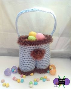Funny Bunny Pants Easter Basket from Blackstone Designs. Boys or Girls. Perfect for egg hunts!