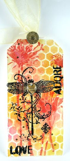 Suzz's Stamping Spot, tag, dragonfly, stencil, A Vintage Journey, Stampendous, Tim Holtz Layering Stencil,