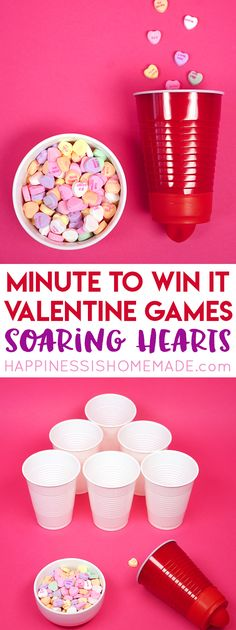 These Minute to Win It Valentine Games will be the hit of your Valentine's Day party! Valentine Minute to Win It Games for kids and adults - everyone will want to play! My Funny Valentine, Kinder Valentines, Valentines Day Activities, Valentines Day Party, Valentine Day Crafts, Valentine Ideas, Saint Valentine, Valentinstag Party, Valentine's Day Party Games