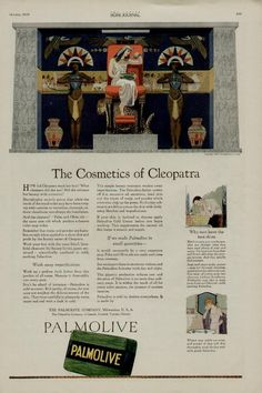 1920 PALMOLIVE SOAP AD / THE COSMETICS OF CLEOPATRA -eBay Vintage Advertisements, Vintage Ads, My Journal, Bullet Journal, Cosmetics & Perfume, Bath Soap, Magazine Ads, Time Capsule, Print Ads