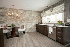 wall coating with stone wall panels artificial stone look - Accent wall / Statement Wall Kitchen Wall Panels, Stone Wall Panels, Stone Veneer Panels, Wooden Wall Panels, Dalle Pvc Adhesive, Faux Stone Veneer, Open Plan Kitchen Living Room, Leather Wall, Kitchen Tops