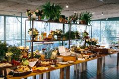 Buffet de comida. Decoración de invernadero. Evento organizado por Detallerie en Masia Ribas.  Food buffet. Greenhouse decoration with plants. Corporate event by Detallerie at Masia Ribas (Barcelona)