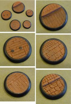 A set of bases with various designs sculpted in FIMO. Sculpted lipped bases for wargaming Warhammer Wood Elves, Warhammer Figures, Warhammer Paint, Warhammer Terrain, Warhammer 40k Miniatures, Minis, Miniature Bases, Sculpting Tutorials, Mini Craft