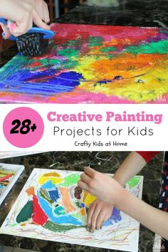 28 Creative Painting Projects for Kids. Process Art activities are an important part of a preschoolers learning and development. Why? Too many times a product (adult envisioned) type of activity is planned, leaving no room for creativity. With process art