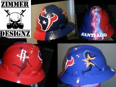 Custom airbrushed hard hat with Houston Teams (TEXANS, ASTROS, ROCKETS). Hard hat painted with art work and then covered with automotive grade clear coat for shine and protection. Custom Airbrushing, Oil Rig, Texans, Custom Paint, Helmets, Rigs, Welding, Hard Hats, Houston