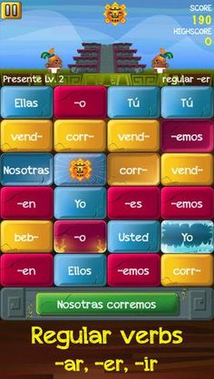Verb Challenge Spanish-app that provides traditional verb conjugation exercises in a fast paced game format. Its comprehensive content and age-neutral settings make it perfect for both primary and intermediate levels. Spanish Grammar, Spanish Language Learning, Spanish Teacher, Spanish Classroom, Spanish Help, Spanish Lessons, How To Speak Spanish, Spanish Teaching Resources, Spanish Activities