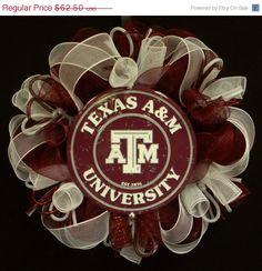 ON SALE Texas College Wreaths College Sport by wreathsbyrobin, $54.25