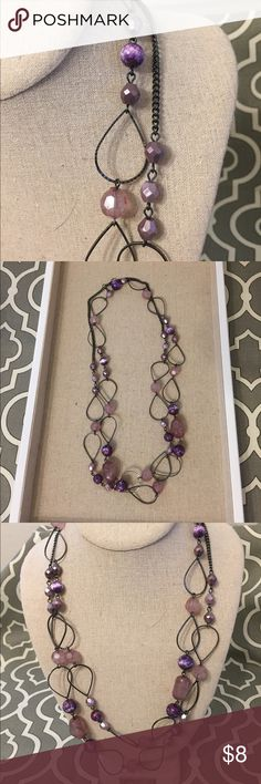 Premier Designs Layering Necklace Rock your look with a Premier Designs layering necklace in purple and plum. The dark metal chain links make this necklace have a fun and edgy appearance. Worn a few times; no missing links; non-smoker; great condition. Premier Designs Jewelry Necklaces