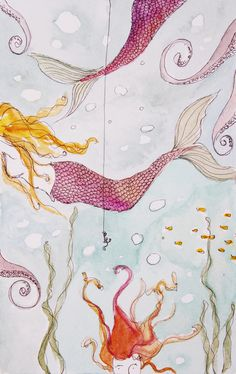 a mermaid's life for me Art Print - erin darcy design