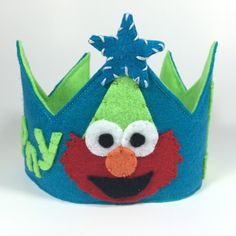 Elmo Themed Felt Birthday Crown by HedsThreads on Etsy