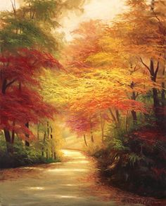 41 Ideas For Painting Canvas Landscape Bob Ross Autumn Painting, Autumn Art, Autumn Forest, Peintures Bob Ross, Landscape Paintings, Watercolor Paintings, Bob Ross Paintings, Autumn Scenes, Pictures To Paint