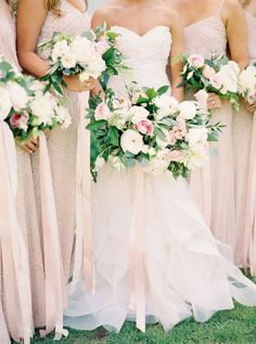 Whimsical blush, ivory and greenery wedding bouquet: Beautiful spring wedding Blush Wedding Flowers, Rose Wedding Bouquet, Blush Pink Weddings, Green Wedding, Floral Wedding, Wedding Colors, Wedding Styles, Trendy Wedding, Ribbon Wedding
