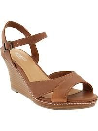 Women's Faux-Leather Mid-Wedges