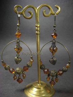 E2755 Banjara tribal gypsy antique tone HANDMADE naga fashion Earrings Indian nepalagora #Handmade