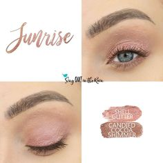 Sunrise Eye Duo uses two SeneGence ShadowSense: Shell Glitter ShadowSense, and Candied Cocoa ShadowSense.  These cream to powder eyeshadows will last ALL DAY on your eye.  #shadowsense #eyeshadow