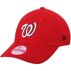 Women s Washington Nationals New Era Red Tech Essential Diamond Era 9TWENTY Adjustable  Hat 640b779b18b8