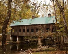 Emert's Covered Bridge spans a stream in Emert's Cove in the Pittman Center area of the Great Smoky Mountains