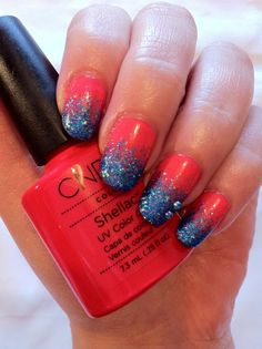 CND Shellac Nail Art - Tropix and Blue Glitter Fade