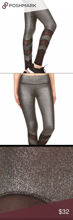 YOGA SPORTS WEAR METALLIC SILVER LEGGINGS 🌲🌲🌲🌲PERFECT GIFT FOR EVERYONE AND FOR YOU 🌲🌲🌲  PANTS 90 POLYESTER 10 SPANDEX  MESH LEG PANELS ALSO 90 POLYESTER 10 SPANDEX  LARGE ELASTIC BAND AT THE WAIST  MAKE A STATEMENT, FROM ERRANDS TO THE GYM. Pants Track Pants & Joggers