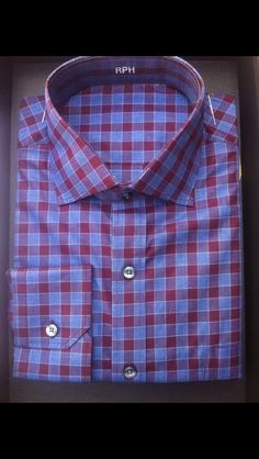 The perfect casual Friday shirt, a J. Hilburn Berry/Blue check shirt with a cutaway collar and mitered cuffs. Contact Me:  Kelly.Franck@jhilburn.com  #customshirt #jhilburn #jhilburnco #jhilburnshirt #jhilburnstyle #style #menswear #mensstyle