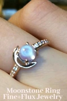 Rainbow Moonstone Natural Gemstone Sterling Silver Genuine Blue Sapphires Natural Gem Ring Mystical Blue Flash Fine Jewelry Size 7