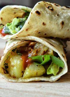 Low FODMAP & Gluten free Recipe - Mumbai potato wraps