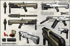The Widowmaker TX is a weapon in Deus Ex: Human Revolution. The Widowmaker TX is a semi-automatic tactical shotgun made by the Military Arms of Ostrava (MAO) located in the Czech Republic. Sci Fi Weapons, Weapon Concept Art, Fantasy Weapons, Weapons Guns, Deus Ex Human Revolution, Giant Bomb, Military Drawings, Future Weapons, Widowmaker