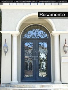 Monaco Doors Name: Rosamonte Finish: Satin Black Glass: Clear Size: 6' x 9' Door / 6' x 3' Transom Style: Square Door, Arch Transom