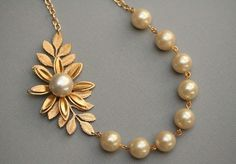 Pearl Leaf Necklace Gold Bridal Jewelry Gold Wedding by madebymoe