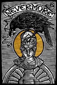 The Raven Woodblock Print