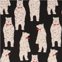 black bear Canvas fabric Kokka