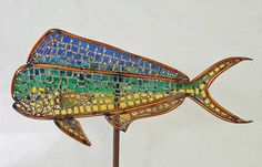 Mahi Mahi Dolphin Fish Copper and Stained Glass by JoChamness Metal Yard Art, Metal Art, Outdoor Sculpture, Sculpture Art, Glass Garden, Garden Art, Yard Sculptures, Mahi Mahi, Mosaic Art