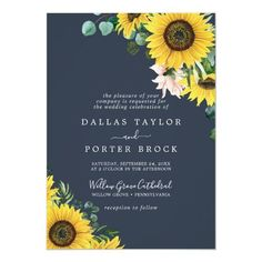 Rustic Sunflower Eucalyptus   Navy Formal Wedding Invite with blush pink flowers, yellow sunflower and hunter green eucalyptus greenery in watercolor on a dark navy blue background with an elegant bohemian country feel. Click to customize with your personalized details today. Backyard Wedding Invitations, Formal Wedding Invitations, Beautiful Wedding Invitations, Custom Invitations, Invitation Design, Invite, Navy Blue Background, Yellow Sunflower, Stationery Paper