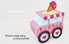 Ice Cream Party Favor Box Truck Paper Craft Toy Pink - Editable Text Printable PDF