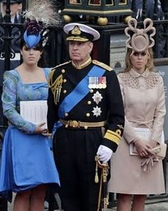 Prince Andrew and his daughters Princess' Eugenie and Beatrice at Prince Williams wedding April 29, 2011.