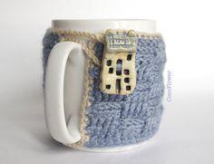 Cozy Mug Coffee, Mug Warmer, Grey color, House Artisanal Ceramic button, sweater Tea Sleeve Cover Crochet Wool -  French country home decor