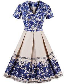 ZAFUL Women Vintage Floral Print Lapel Dress V Neck Short...