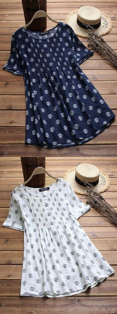 47% OFF! Gracila brand from NEWCHIC. Polka Dot Print Pleated Short Sleeve O-neck Vintage Blouses #vintage #blouses #short