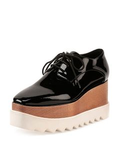 If I were 21 again! Faux-Patent Lace-Up Loafer, Black by
