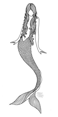 MERMAID  Commissioned illustration for a tattoo.  Illustration: Matthew Allen se parece a mis dibujos!! jajaja