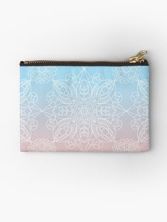 Pastel Dreams Mandala on Blue and Pink Linen Like Background by Kelly Dietrich