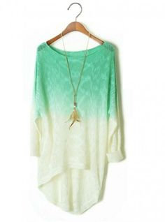 Green Gradient Irregular Perspective Sweater  ($39, originally   $46.8) http://www.udobuy.com/goods-12737.html#.UhQtFdL8m9M