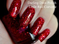 Little Red Corvette Nail Polish by DarlingDivaPolish on Etsy. Red holographic glitter polish.