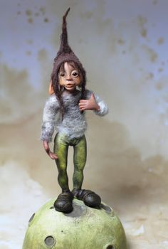 OOAK art doll pixie elf sculpture by Feythcrafts on Etsy… Forest Creatures, Weird Creatures, Fantasy Creatures, Kobold, Paper Mache Sculpture, Dragons, Elves And Fairies, Hobgoblin, Clay Dolls