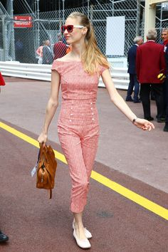 Beatrice Borromeo donning a chic jumpsuit during the race event.