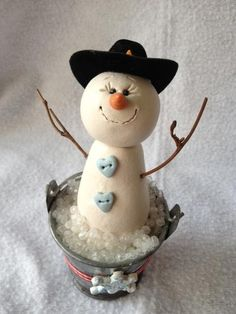 Cowboy snowman chillin in a bucket by MommaBscrafts on Etsy, $25.00