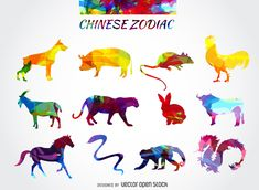 Chinese horoscope drawing featuring colorful silhouettes of every animal of the zodiac. Design also says chinese zodiac in the same style. Use it in