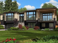 Plan 23556JD: Modern Beauty For Front Sloping Lot