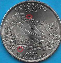 2006 P - COLORADO - STATE QUARTER ERROR COIN - REV-OBV DIE CHIPS - UNCIRCULATED
